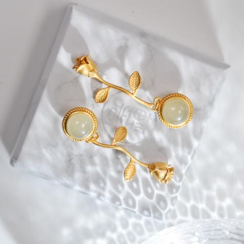 Gold Rose - Hetian Jade Gilt Silver Earrings