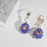 Must Have - Asian Chinese Handmade Cloisonne Enamel- Sky Pearl Earrings| LIGHT STONE