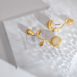 Best Online Earrings - Rose - Chinese Jade Gilt Silver Earrings | LIGHT STONE