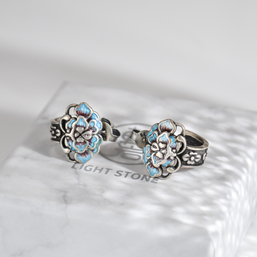 Peony Flower - Cloisonne Burning Blue Ear Stud