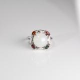 Chinese Artisan Jewelry- Online Shop -White Hetian Jade&Tourmaline Silver Ring | LIGHT STONE