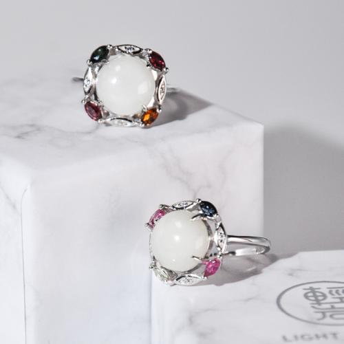 Colorful Life - White Hetian Jade&Tourmaline Silver Ring