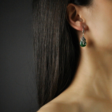 Chinese Artisan Jewelry -Mosaic Flower - Green Chalcedony Earrings| LIGHT STONE