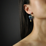 Chinese Artisan Jewelry- Balloon - Glass Enameling Silver Earrings| LIGHT STONE