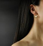 Chinese Jewelry-  Baroque Fan - Silver Hetian Jade Earrings| LIGHT STONE