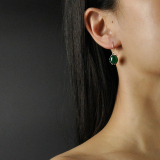 Green Drop - Chalcedony Silver Earrings