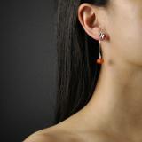 Online Earrings - Pumpkin - Chinese Red Agate Silver Earrings| LIGHT STONE
