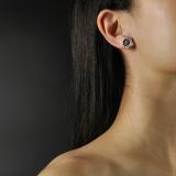 Online Shop- Chinese Enamel Cloisonné Blue Star Flower Ear Stud  LIGHT STONE
