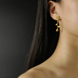 Best Online Earrings - Rose - Chinese Jade Gilt Silver Earrings | LIGHT STONE