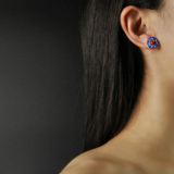 Online Earrings - Flower - Red Agate - Chinese Cloisonné Silver Ear Stud  | LIGHT STONE