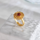 Sunflower - Red Agate Gilt Silver Ring