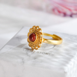 Online Rings - Vintage Flower Chinese Red Agate Silver Earrings| LIGHT STONE