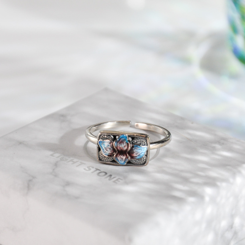 Square Lotus - Burning Blue Cloisonné Silver Ring