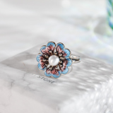 Flower - Chinese Cloisonne Enameling Flower Silver Ring - Online Shop| LIGHT STONE