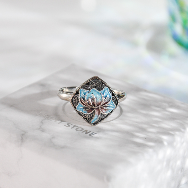Lotus -Burning Blue Cloisonne Silver Ring