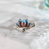 Lotus - Chinese Cloisonne Handmade Enameling Silver Ring - Online Shop | LIGHT STONE