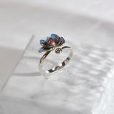Lotus - Chinese Cloisonne Handmade Enameling Silver Ring - Online Shop   LIGHT STONE