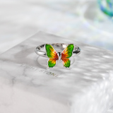 Green Butterfly - Chinese Cloisonne Enameling Silver Ring - Online Shop | LIGHT STONE
