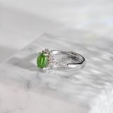 Chinese Artisan  Jewelry- Star Shining - Green Hetian Jade Silver Ring | LIGHT STONE