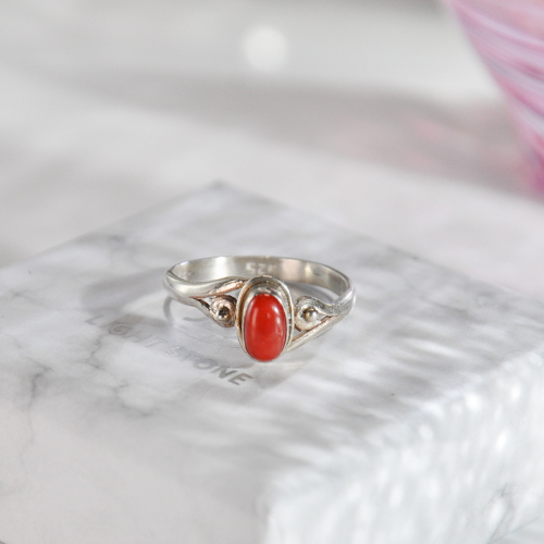 Clouds - Red Coral Handmade Tibetan Silver Ring