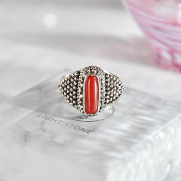 Diamond Coral - Tibetan Silver Handmade Ring