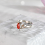 Chinese Handmade Jewelry- Online Ring -Red Coral Tibetan Silver Ring| LIGHT STONE