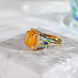 Butterfly - Cloisonne Enameling Amber Silver Ring - Online Shop | LIGHT STONE