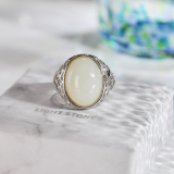 Chinese Artisan  Jewelry- Vintage Flower - White Jade Silver Ring | LIGHT STONE