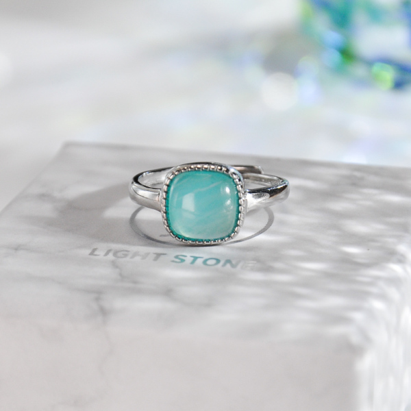 Blue Ocean - Square Amazonite - Silver Ring