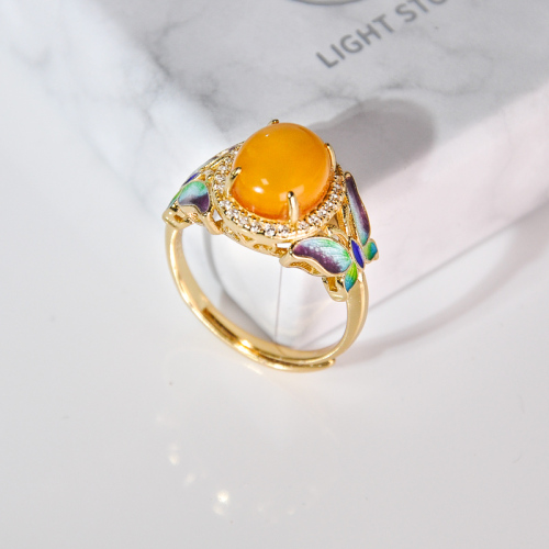 Butterfly - Cloisonne Enameling Amber Silver Ring