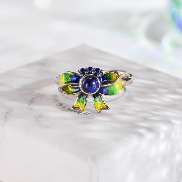 Butterfly - Burning Blue Cloisonné Silver Ring