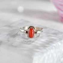 Oval - Red Coral Handmade Tibetan Silver Ring