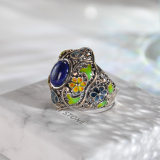 Lucky Coin - Chinese Cloisonne Silver Ring - Handmade - Online Shop | LIGHT STONE