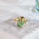 Cicadas - Chinese Cloisonne Enameling Silver Ring - Online Shop| LIGHT STONE