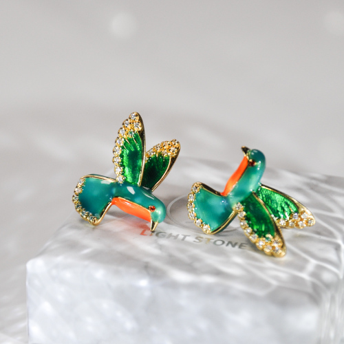 Hummingbird Couple - Cold Enameling Silver Stud