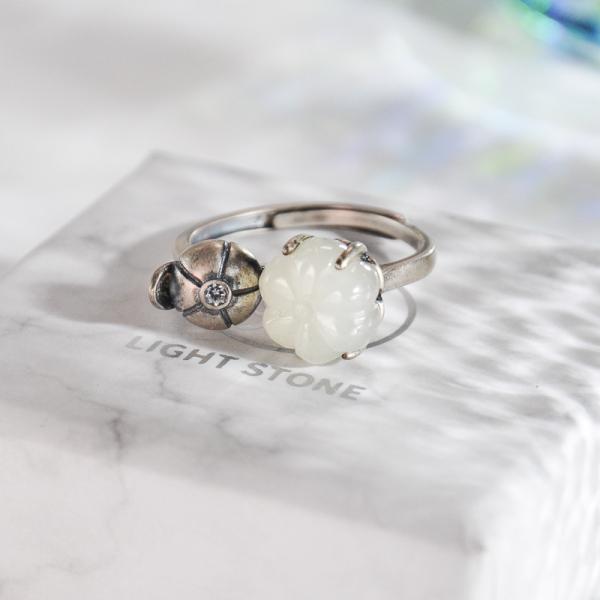 Pumpkin -Jade Silver Ring