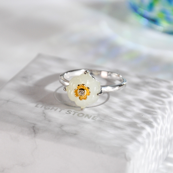 Pumpkin Flower - Jade Silver Ring