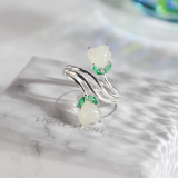 Heart Shape - Chinese Jade Silver Ring - Online Shop | LIGHT STONE