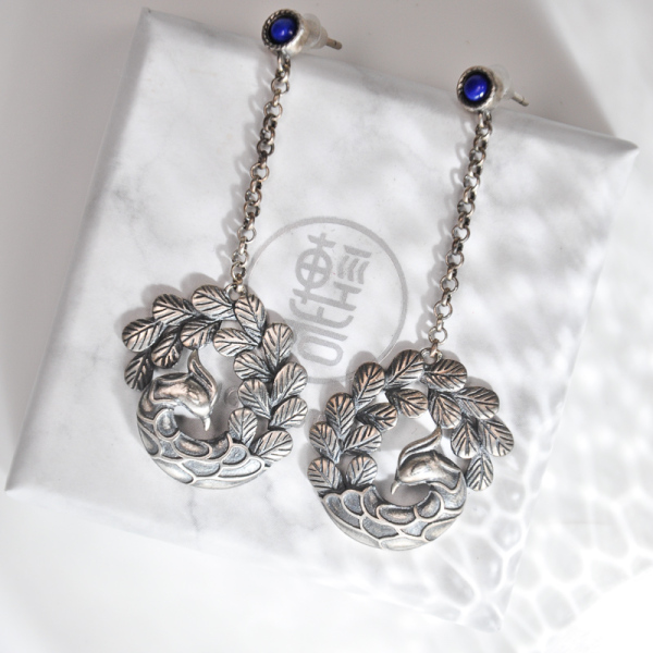 Peacock Earrings - Handmade Silver Earrings