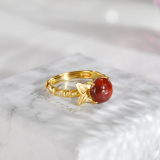 Bamboo - Red Agate Gilt Silver Ring