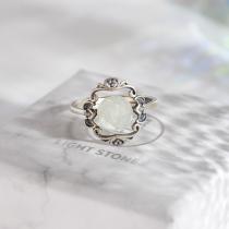 Flower - Jade Silver Ring