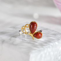 Butterfly- Red Agate Silver Ring