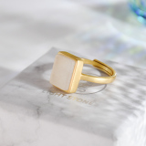 Modern Design Jade Ring - Rectangle - Silver Ring - Online Shop | LIGHT STONE