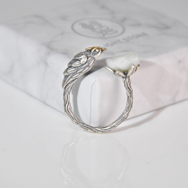 Bird - Jade Silver Ring