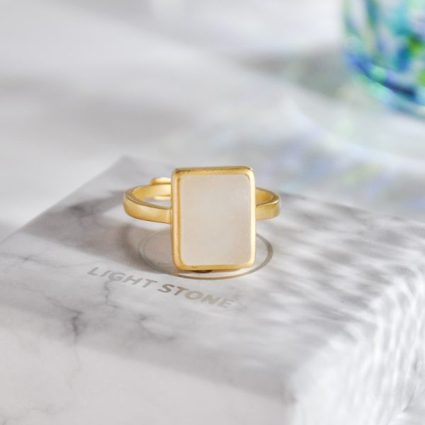 Rectangle - Silver Jade Ring