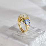 Peony - Burning Blue Cloisonne Silver Jade Ring