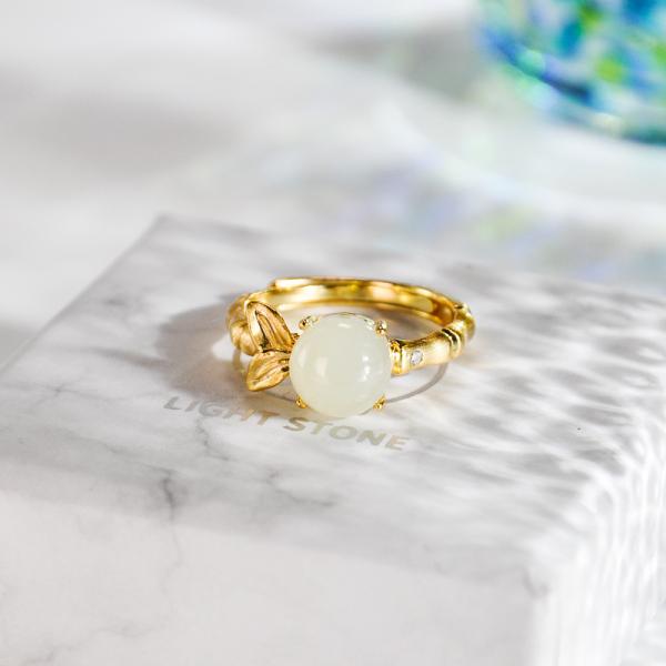 Bamboo - Jade  Gilt Silver Ring
