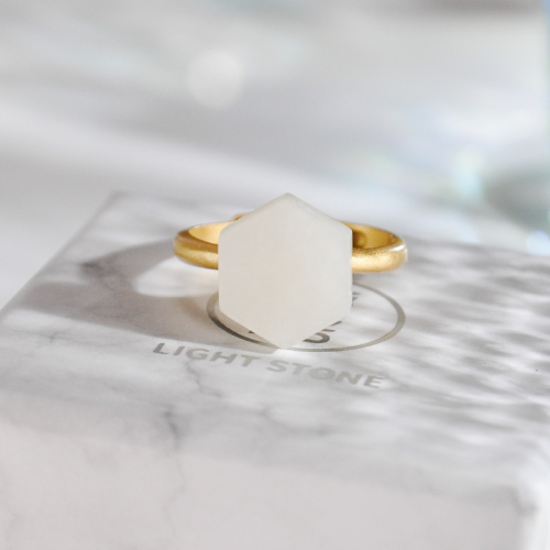 Hexagon  - Silver Jade Ring