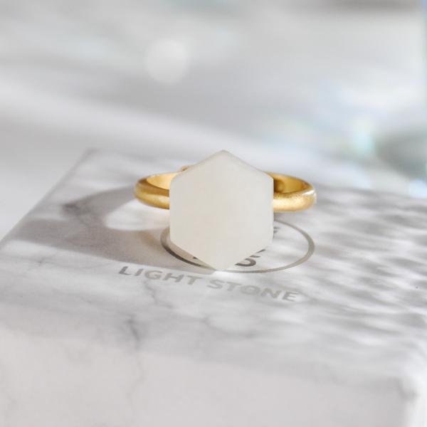 Hexagon  - Silver Jade Ring
