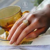 Peony - Chinese Cloisonne Silver Jade Ring - Online Shop  | LIGHT STONE